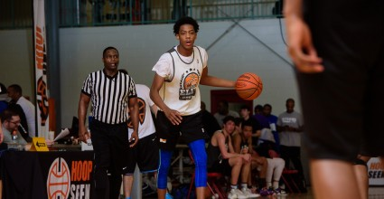 Horace Wyatt Dribble the ball at HoopSeen elite preview